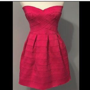 Flirty Hot Pink Strapless Dress